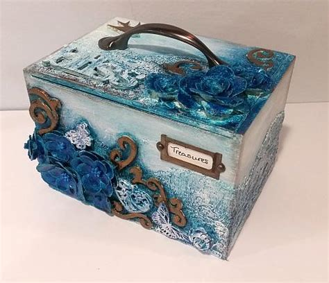 mixed media treasure box project  decoart