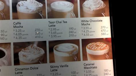 Beverage sizes from starbucks do not use standard names, rather, they are. Starbucks Menu with Prices & Calories in 1080p HD - YouTube