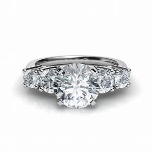 graduated 5 stone round cut diamond engagement ring With five stone wedding rings