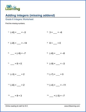 grade 6 math worksheet adding integers with missing