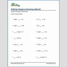 Grade 6 Integers Worksheets Adding Integers  Missing Addends  K5 Learning