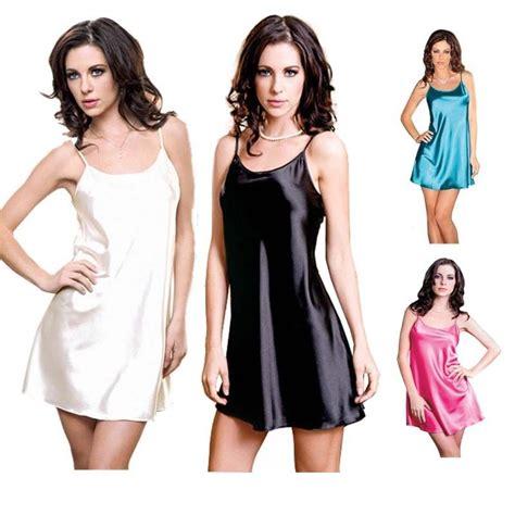 womens black satin chemise nightgown nightdress slips babydoll nightie sleepwear ebay