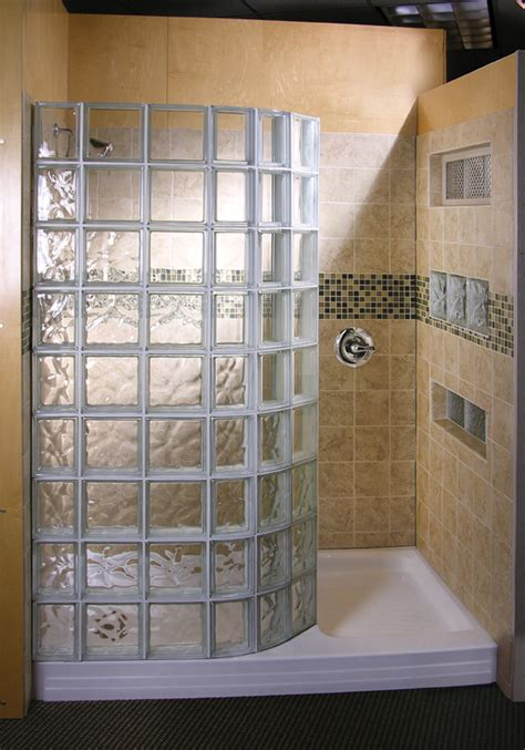 glass block showers  st louis doorless shower wedi