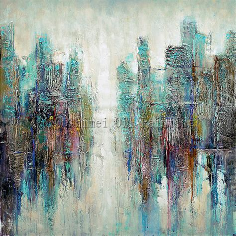 master artist handmade high quality modern abstract painting on canvas light green abstract