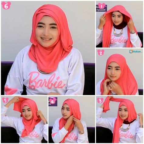 tutorial hijab pashmina wajah bulat simple jilbab