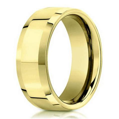 6mm 18k yellow gold beveled edge designer men s wedding ring justmensrings com