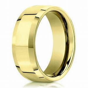 6mm 18k yellow gold beveled edge designer men39s wedding With designer mens wedding rings
