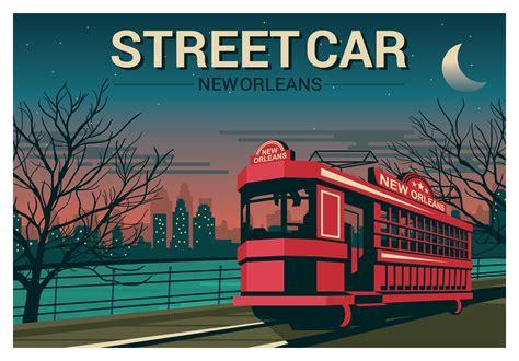 orleans streetcar illustration   vectors clipart graphics vector art