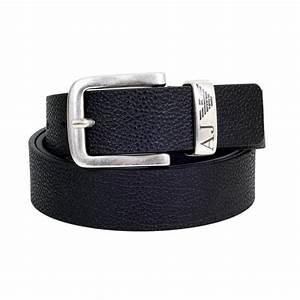 Black grain leather AJ Eagle logo loop Heavy rectangular buckle 3.5cm wide One size Belt Cut to ...