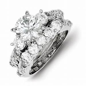 sterling silver 2 piece cz wedding ring qgqr2090 With 2 piece wedding rings