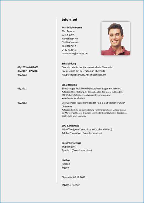Lebenslauf Tabellarisch Word by Tabellarischer Lebenslauf Vorlage Sch 252 Ler Ber 252 Hmt