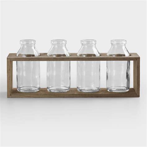 World Market Vases - 4 quot bottle vases with wood holder set of 4 world market