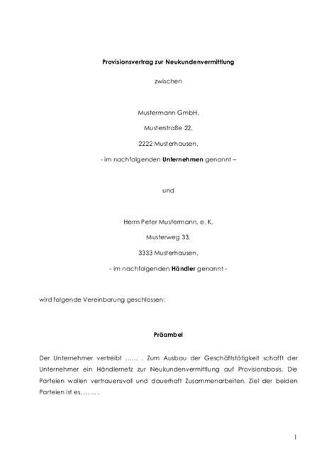provisionsvertrag fuer eine provisionsvereinbarung muster