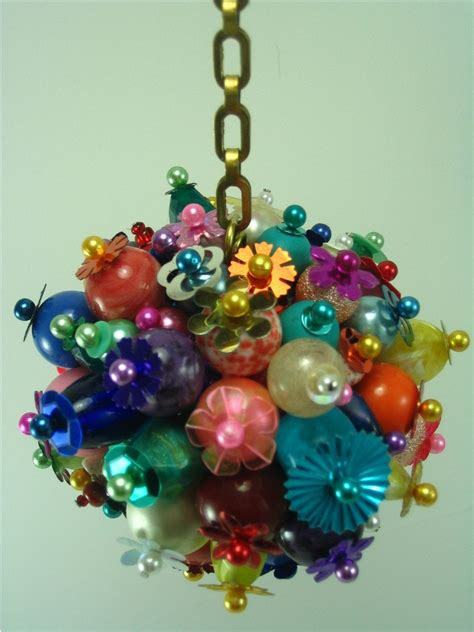 multi colored beaded christmas ornament ball and chain