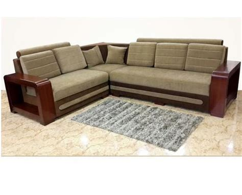 Sofa With Wooden Frame by And Light Brown Wooden Frame Corner Sofa Rs 40000