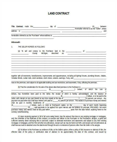 installment land contract form 7 land contract form sles free sle exle