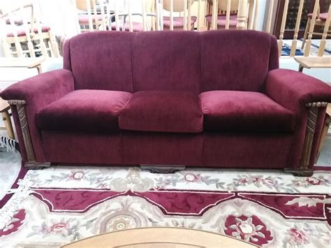Vintage 1930's Art Deco Red Mohair Sofa And 2 Chairs