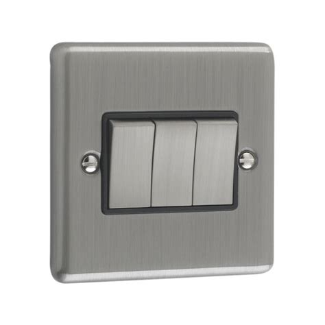 Brushed Chrome   3 Gang Light Switch Black Trim   W03BCB