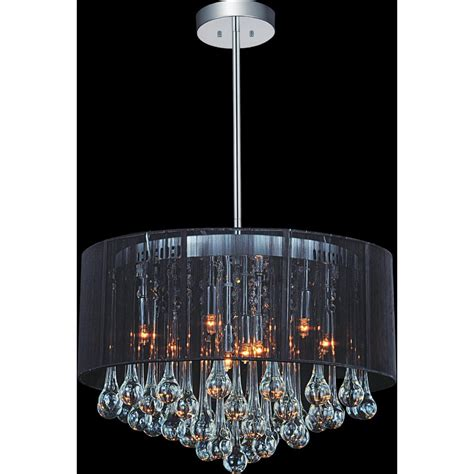 Chandelier With Black Shade And Drops cwi lighting water drop 6 light chrome chandelier with