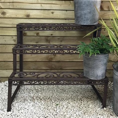 Outdoor Etagere Plant Stand by Rustic Cast Iron 3 Tiered Garden Plant Etagere Plant