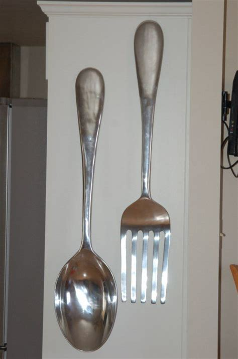 Buy 23 oversized aluminum silver fork, knife & spoon wall decor set: big kitchen utensils wall - Bing Images | Black living room decor, Giants decor, Dinning room decor