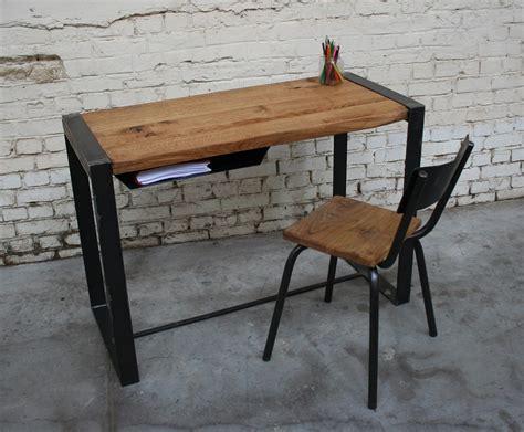 bureau bois et metal bureau br bu003 giani desmet meubles indus bois m 233 tal et cuir