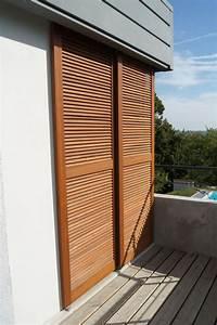 Volet Bois Sur Mesure : installation de volets coulissants bois persienne standard ~ Melissatoandfro.com Idées de Décoration