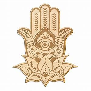 Hamsa Hand Engraved Wood Sign