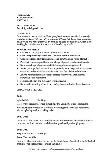 Resume Part Time Employment by Cv Formats And Exles