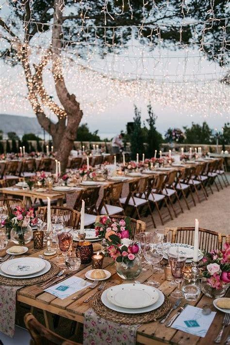 boho chic wedding reception decoration  lighting ideas