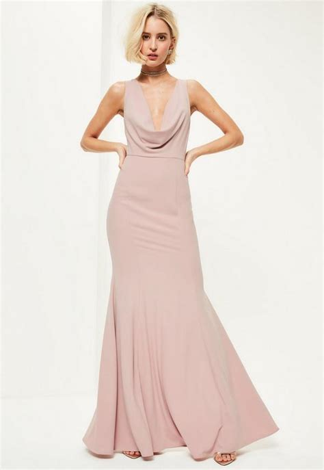 pink crepe front cowl maxi dress missguided