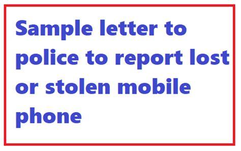 sample letter  police  report lost  stolen mobile
