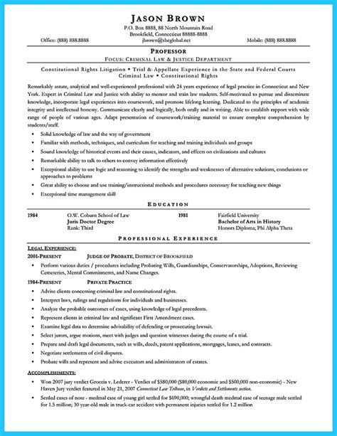 sle resume for recent college graduate criminal justice