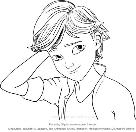 drawing adrien agreste miraculous coloring page