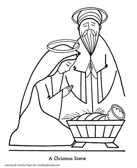 religious christmas bible coloring pages nativity scene coloring pages honkingdonkey