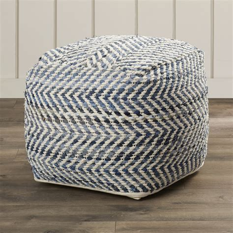 Poufs Ottoman by Beachcrest Home Lubec Chevron Pouf Ottoman Reviews Wayfair