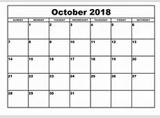 October 2018 Calendar Template Pdf And Document