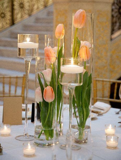 Cylinder Vase Arrangements by Cylinder Vases Tulips And Floating Candles Maek For An