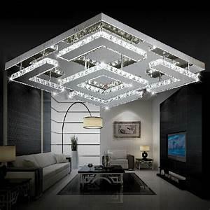 Grand Lustre Design : grand carr design moderne led cristal plafonnier pour ~ Melissatoandfro.com Idées de Décoration