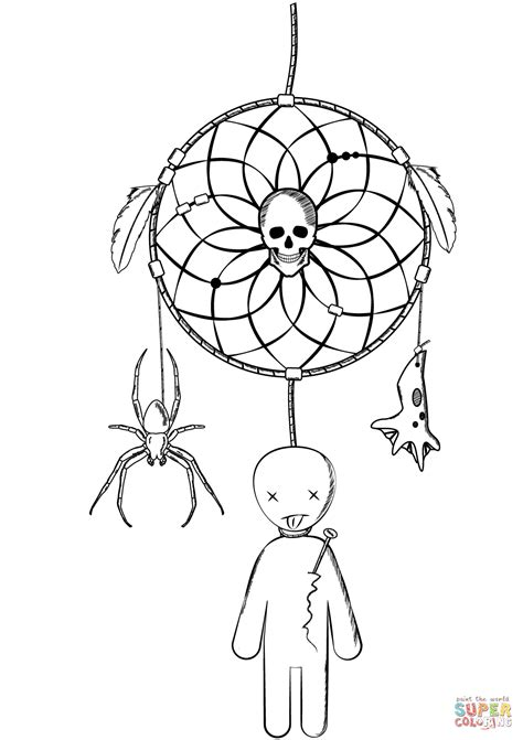 Pin by Stefanie Palmer on Dreamcatcher Coloring Page | Doll tattoo, Spider coloring page, Dream