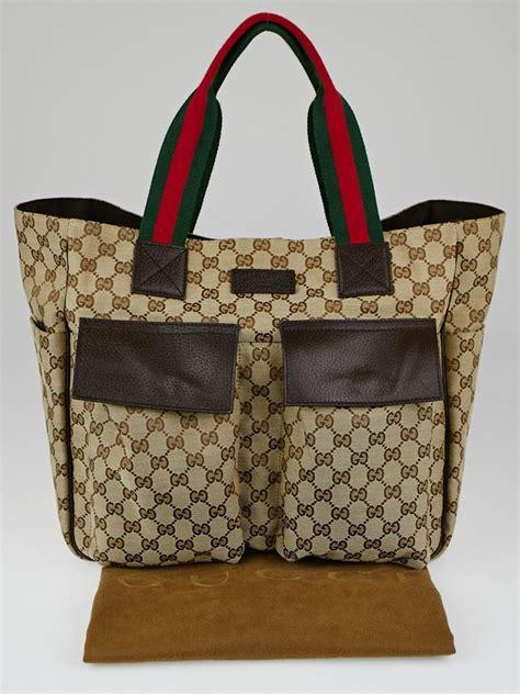 gucci beigeebony gg canvas medium pocket tote bag yoogi