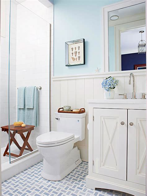 bathroom  blue white cottage style