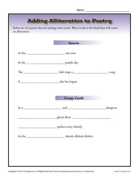 Adding Alliteration To Poetry  4th Grade Worksheets