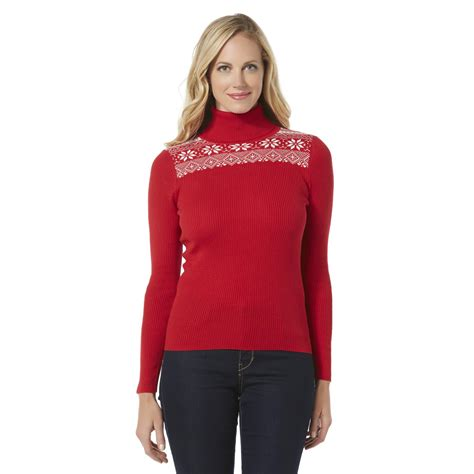 fair isle sweater womens basic editions 39 s ribbed turtleneck sweater fair isle