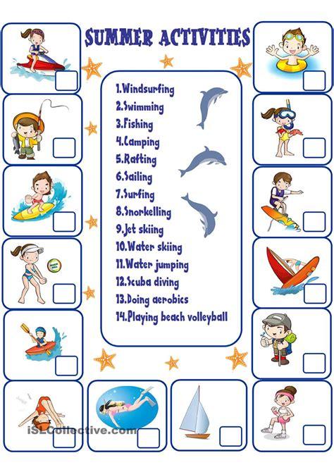 summer activities free esl worksheets verano