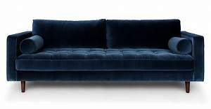 sven cascadia blue sofa sofas article modern mid With difference between settee sofa and couch