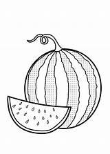 Coloring Watermelon Pages Fruit Garnet Fruits Vegetables Cucumber sketch template