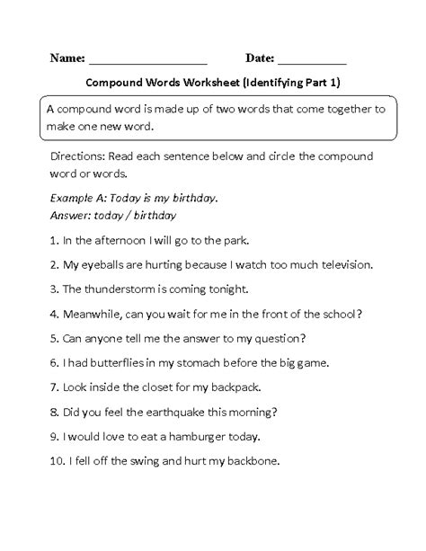 compound words worksheets finding compound words worksheet