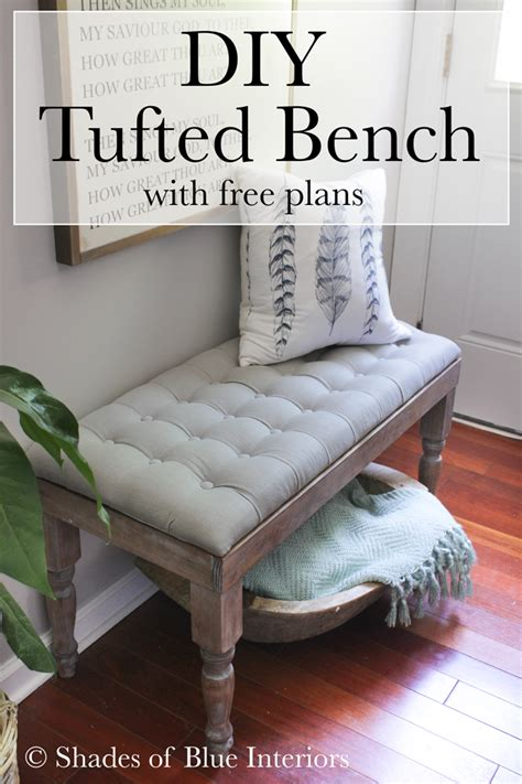 diy tufted bench shades  blue interiors