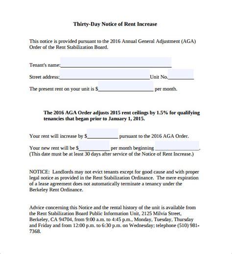 rent increase notice templates